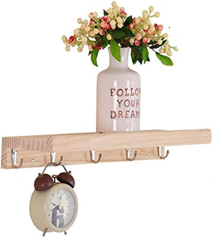 JIAYING Wandgarderobe mit 5-8 Aufhngehaken.Verwendung als Garderobe, Hutablage, Schlüsselhalter.Perfekt für Eingangsbereich, Küche, Bad, Flur, Foyer (Farbe   Holz Farbe, gre   5 hook-40CM)