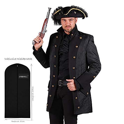 WOOOOZY Herren-Kostüm Jacke Gothic Lord Steampunk Frack Gehrock, schwarz, Gr. L - inklusive praktischem Kleidersack