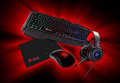 TALIUS Gaming Kit V.2 (tastiera + mouse + cuffie + tappeto) nero