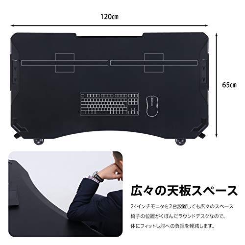 XeNO(ゼノ)ゲーミングデスク幅120cmブラックケーブル収納スチールイージー38130