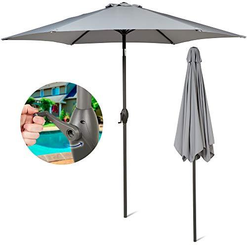 SUNMER Grey Parasol 2.7M Garden Umbrella Sun Shading   Crank Mechanism   Polyester 180 g/m² (UV 30+)  Pole Width ø 38 mm (Excl. Base)