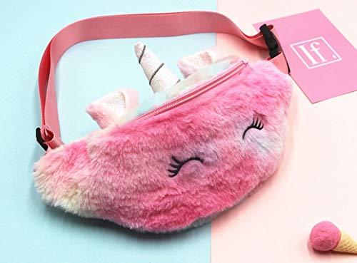 Bolsa de pecho para niños con diseño de unicornio, riñonera para niñas, de peluche, de color degradado, para el pecho…