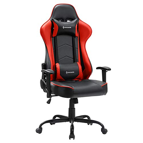 FANTASYLAB VON RACER Gaming-Stuhl Racing Computer Schreibtisch Bürostuhl Drehstuhl Ergonomischer Chefsessel Bonded Leder Stuhl mit Kopfstütze Lendenwirbelstütze und verstellbaren Armlehnen Rot