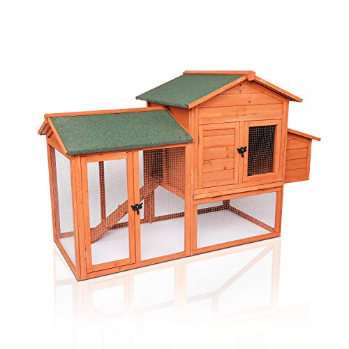 "LAZY BUDDY Chicken Coop, 41"" Wooden Chick Cage with Egg Box, Indoor and Outdoor Use Chicken Coop with Waterproof Roof for Chicken and Other Pets (Medium)"