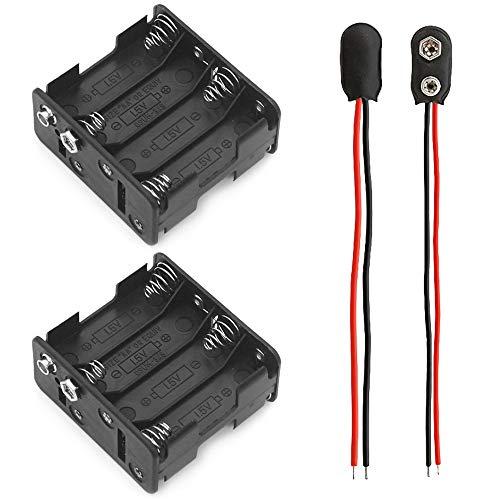 2 Piezas Portapilas para Caja de Almacenamiento de batería de plástico con Interruptor de Encendido/Apagado y Conector Clip de la batería 9V