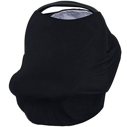 Creation Core 3 in 1 Nursing Breastfeeding Cover Baby Car Seat Cover Canopy Stretchy Carseat Canopy Grocery Cart Cover (Black)