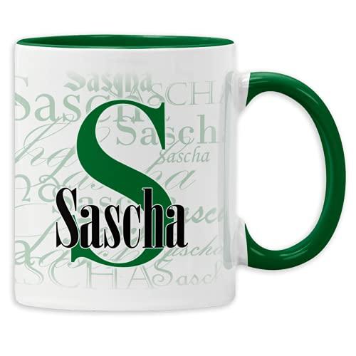 Namenstasse mit Wunschnamen Buchstabentasse personalisierte Kaffee-Tasse mit Namen aus Keramik (Dunkelgrün)