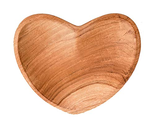 Windalf Handmade Fairy Deco houten schaal ABY Ø 12 cm hartvormige schaal geschenk sieraden teak schaal asbak bons- & sleutelschaal wortelhout