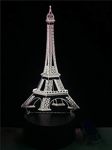 Lámpara decorativa con diseño de Torre Eiffel, para fiestas, ambiente nocturno, 3D, LED, USB, multicolor, lámpara de mesa, bonito regalo
