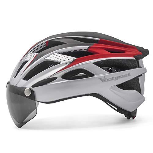 VICTGOAL Casco da Bici Casco da Mountain Bike con Occhiali Protettivi Magnetici Rimovibili, Casco con Visiera Staccabile per Adulto Uomo Donna (Argento)
