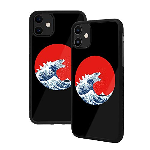 Hokusai: The Great Wave Alternatives Japanese Art, Premium Vetro Temperato Back Phone Case [Shock Absorption] Soft Rubber Frame with Grip