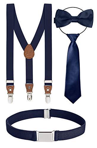 BomGuard 4er kinder-hosenträger dunkel-blau dunkelblaue schleife 1-5 Jahre 12 jungs 1-8 Jahre kinder-gürtel kinder-fliege kinderkrawatte krawatte