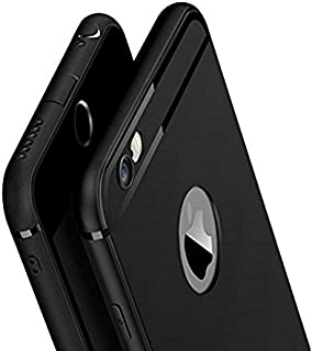WOW Imagine Soft Silicone All Sides Protection 360 Degree with Anti Dust Plugs Shockproof Slim Back Case Cover for Apple iPhone 6 / iPhone 6s (4.7 inch Screen) - Pitch Black