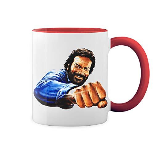 Bud Spencer Punch Bulldozer Retro Weiße Kaffeetasse Mug mit roten Felgen und Griff