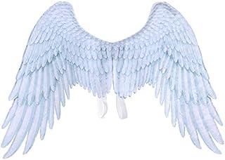 SODIAL ハロウィーン用男の子、女の子と子供の黒白天使の翼、ハロウィーンのための天使の翼、ユニセックス、多目的、クリエイティブのコスチューム、ウィング、パーティーの小工具、白色