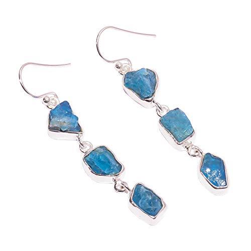 925 Sterling Silber baumelnde Ohrringe, natürlicher roher Neon-Apatit Edelstein Frauen Modeschmuck RSE1728