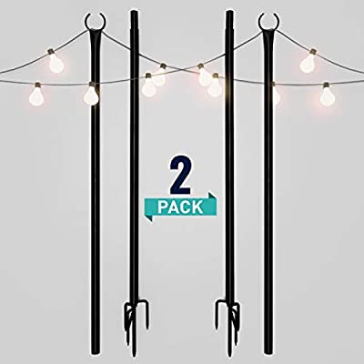 Holiday Styling String Light Poles for Outdoors (2 x 9ft) Push Down Middle to Stay Strong Straight and Sturdy to Hang LED Hanging Solar Bulbs for House Garden Cafe Wedding Party