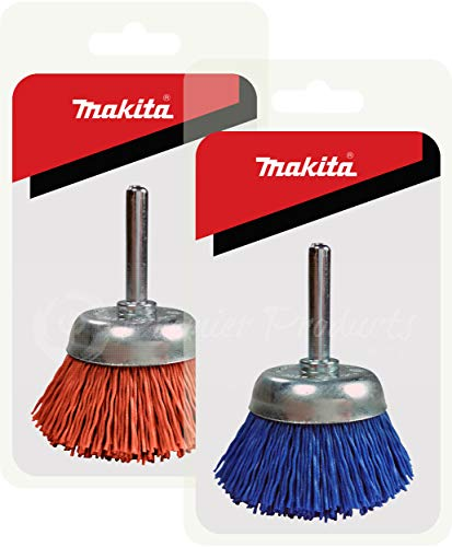Makita 2 Piece - 2 Inch Nylon Cup Brush Set For Drills - Fine & Light Conditioning For All Applications - 80 & 240 Grit