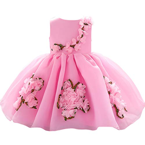 sunnymi - Vestido de 0 – 3 años para bebé, niña, Flores, Princesa, Fiesta, Performance Rosa 18-24 Meses