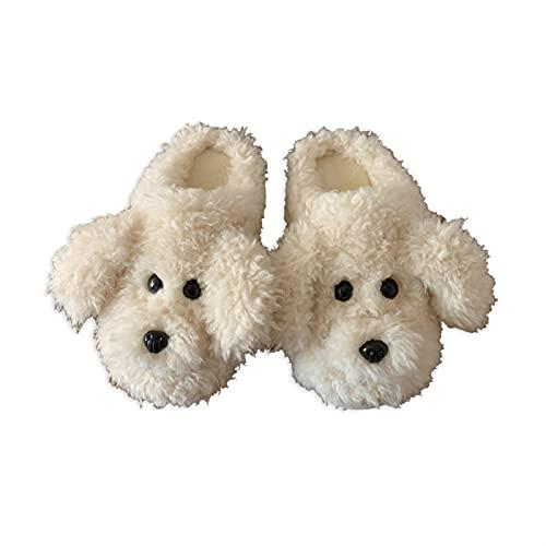 VGY Lady Llush Slippers Tubo Tubo Lindo Caliente Anti-Skid Terry Flufy Tendencia Muebles de Interior Zapatos (Color : White, Size : 7.5)