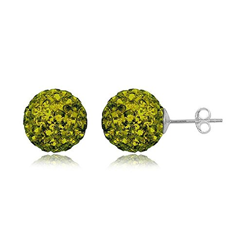 12MM WOMENS Sparkly Disco Ball Sterling Silver Stud Earrings - GREEN OLIVINE or Choose From 29 Colours