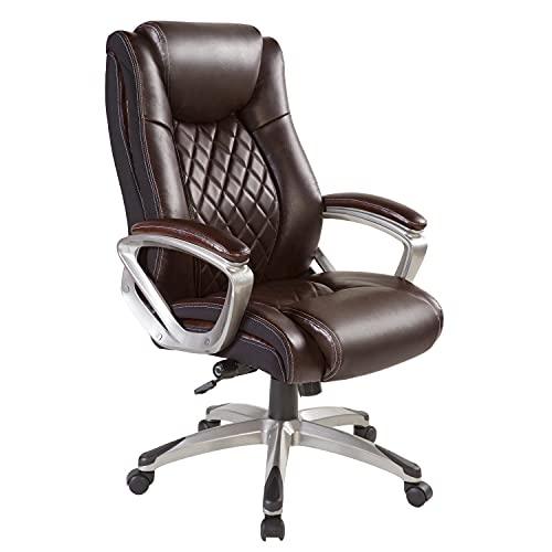 BOWTHY Großer und hoher Bürostuhl, 136 kg, ergonomischer Computer-Schreibtischstuhl mit verstellbarer Lendenwirbelstütze, hohe Rückenlehne, Drehgelenk, Leder (braun)