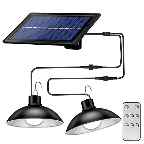 Solar Pendant Lights Outdoor Indoor,Dimmable 30 LEDs Dual Head Solar Shed Light with 9.84FT Cord, Remote Controller, IP65 Solar Lights for Garden Courtyard Barn Balcony Corridor(White Light)