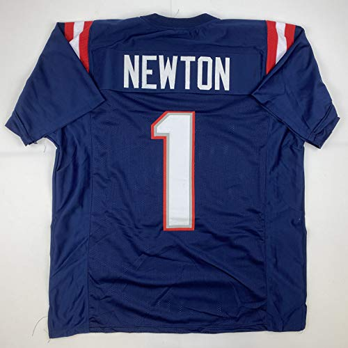 Unsigned Cam Newton New England Blue Custom Stitched Football Jersey Size XL New No Brands/Logos
