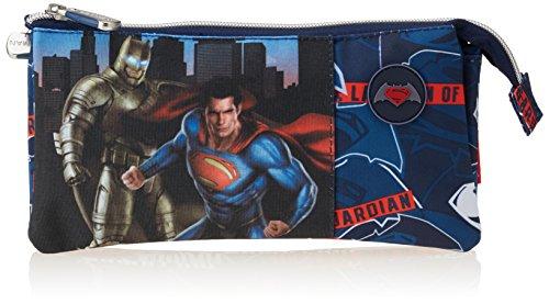 Batman & Superman Héros Trousse 3 poches, couleur bleue