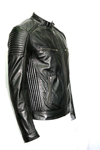 Court de style motard urbain noir veste en cuir souple de l'homme Toutes les tailles (UK 3XL / EU 58)