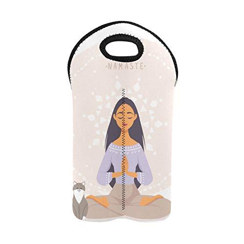 Bolsa de vino Linda chica de dibujos animados en yoga Lotus Pose Vino Bolsa de playa Portabotellas doble Portadores de vino y totalizadores 2 botellas de neopreno grueso Soporte para botella