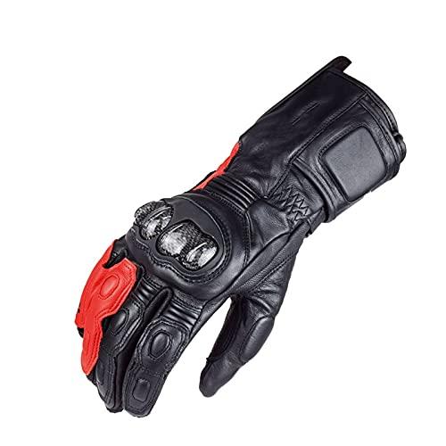 Guantes de Carreras Guantes Largos para Motocicleta Guantes de Cuero para Carreras de Motocross Accesorios para Motocicleta para Hombre 4 Colores (Color : Red, Size : XL)