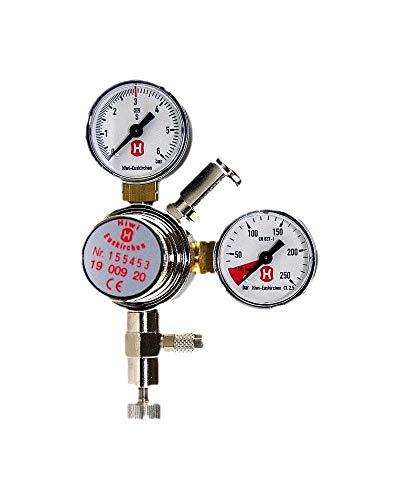 Hiwi CO2 Druckminderer Profi Variante Mehrweg mit Feinnadelventil 2 Manometer für Flaschen- und Arbeitsdruck Made in Germany