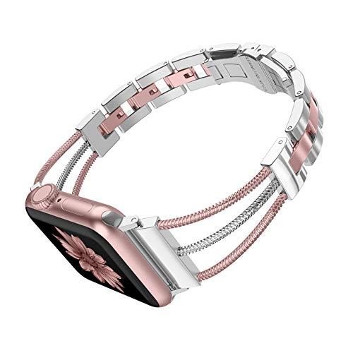 CRODI - Pulsera de acero inoxidable para Apple Watch, 38 mm, 40 mm, 2 tonos, con cierre de mariposa, para iWatch Series 5 4 3 2 1