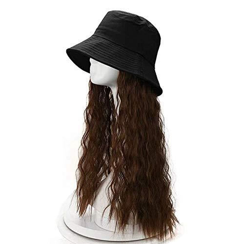 pruiken Pruik vrouwelijk lang haar met pruik hoed een vrouwelijk lang krullend haar herfst- en wintermodellen vissershoed volledige hoofddeksel