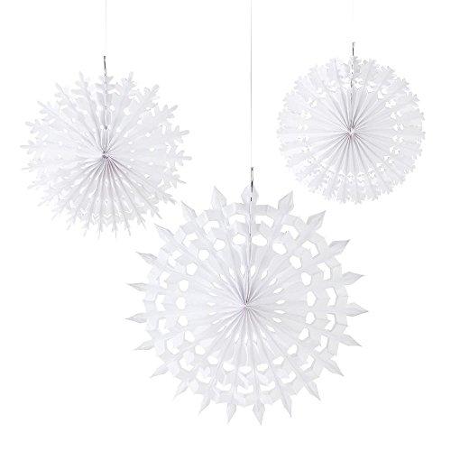 Talking Tables Decadent Decorations; Schneeflockendekoration zum Aufhängen für Weihnachtspartys, Weiß (3 pro Pack)
