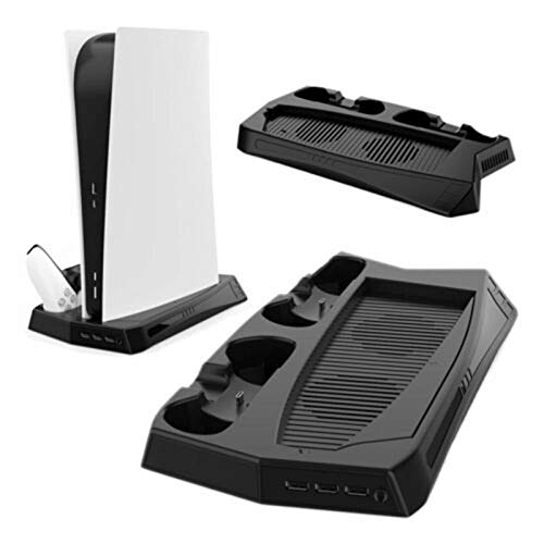 Stand Cooling Fan for PS5 Slim / PS5 Pro/Playstation 5,Stand Vertical Stand Cooler with Dual Controller Charge Station