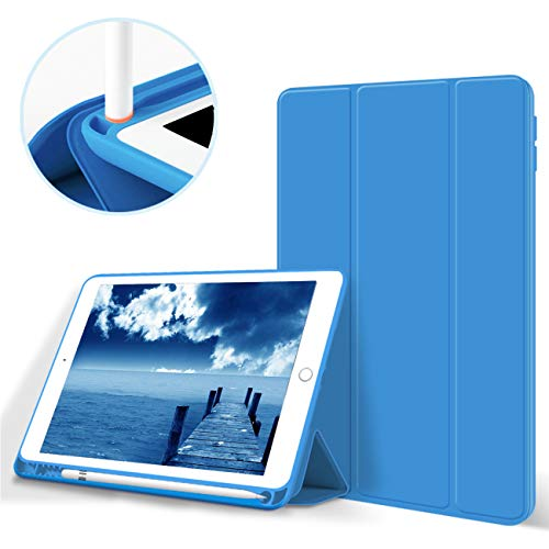 Aoub iPad 5th/6th Generation 9.7'Case 2018/2017 with Pencil Holder Thin Lightweight Smart Protective Stand Cover Auto Wake Up/Sleep for Apple iPad 9.7 Inch Model A1822/ A1823/ A1893/ A1954,Blue