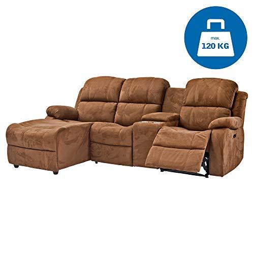 RABURG Kino- und Fernsehsofa 3-Sitzer, elektrische Relaxfunktion - Wohnzimmer Couchganitur mit bequemer Liegefunktion, Kinosofa, Ecksofa aus Mikrofaser, braun
