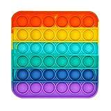 [BEAUTY PLAYER]プッシュポップ フィジェットおもちゃ スクイーズ玩具 プッシュポップポップ バブル感覚 減圧グッズ ストレス解消 インテリ カラフル(レインボ 正方形)