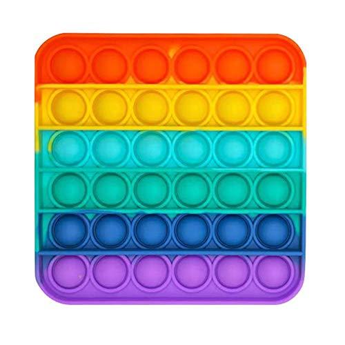 KUNSTIFY POP IT Fidget Toy Antistress Spielzeug für Erwachsene und Kinder Anti Stress Sensorik Popit Figetttoys Fidget Toy Set Figuren Ball Figet Bubble Push pop Regenbogen Quadrat