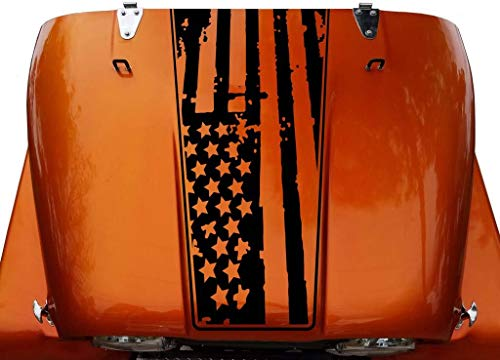 Tower Decals American Flag Hood Blackout Outlined Vinyl Graphic Decal Fits Jeep CJ Matte Black