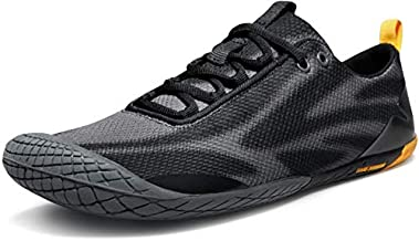 TSLA Men's Trail Running Minimalist Barefoot Shoe, Baretrek(bk32) - Black & Grey, 8