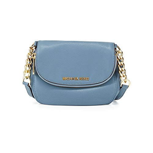 "Surf blue pebbled leather with golden hardware. Two-way zip flap top. Adjustable crossbody strap; 22"" drop. Inside, monogram lining; one zip and one open pocket. 8"" W x 6.5"" H x 2"" D"