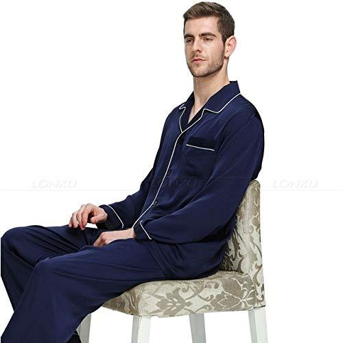 Handaxian Conjunto de Pijama de satén de Seda para Hombres Ropa Casual para Todas Las Estaciones Conjunto de Ropa Interior para Hombres Azul Marino 4XL