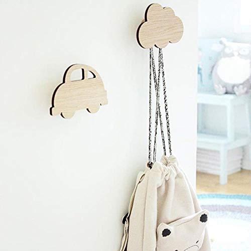 CTOBB - Percha de madera natural para colgar en la pared, gancho para colgar ropa, nube, de madera, gancho nórdico, para habitación infantil, decoración de habitación infantil, colgador decorativo, BM