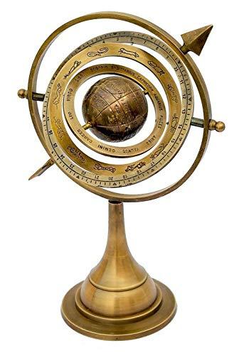 U S International 11' Antique Brass Armillary Sphere with Sundial Arrow 10.5' Nautical Maritime Astrolabe Engraved Globe