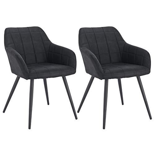 WOLTU® Esszimmerstühle BH224an-2 2er Set Küchenstuhl Polsterstuhl Wohnzimmerstuhl Sessel mit Armlehne, Sitzfläche aus Stoffbezug, Metallbeine, Anthrazit