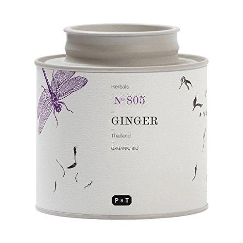 P & T Ginger, (Jengibre) Infusion Pura de Hierba Organica a Granel, Sin Cafeina, Tarro (100g / 3,5oz)