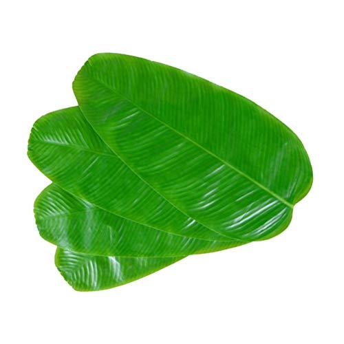 Amosfun 4 stücke Simulation Bananenblatt Tischset Tischset Künstliche Blätter oder Hawaiian Luau Dschungel Party Supplies Tischdekorationen (Grün)